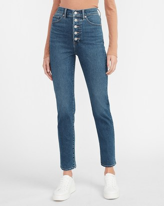 Express Super High Waisted Supersoft Button Fly Slim Jeans