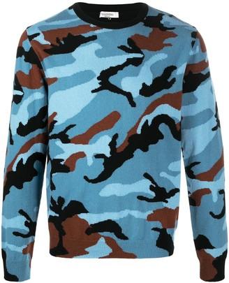 Valentino Intarsia-Knit Camouflage Cashmere Jumper
