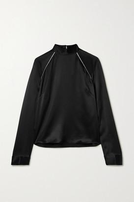 Mason by Michelle Mason Crystal-embellished Silk-charmeuse Blouse - Black