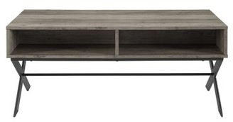 Gracie Oaks Michela Cross Legs Coffee Table with Storage Color: Gray Wash