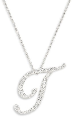 Roberto Coin 18K White Gold, Diamond & Ruby T Pendant Necklace
