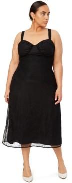 Danielle Bernstein Trendy Plus Size Lace Midi Dress, Created for Macy's