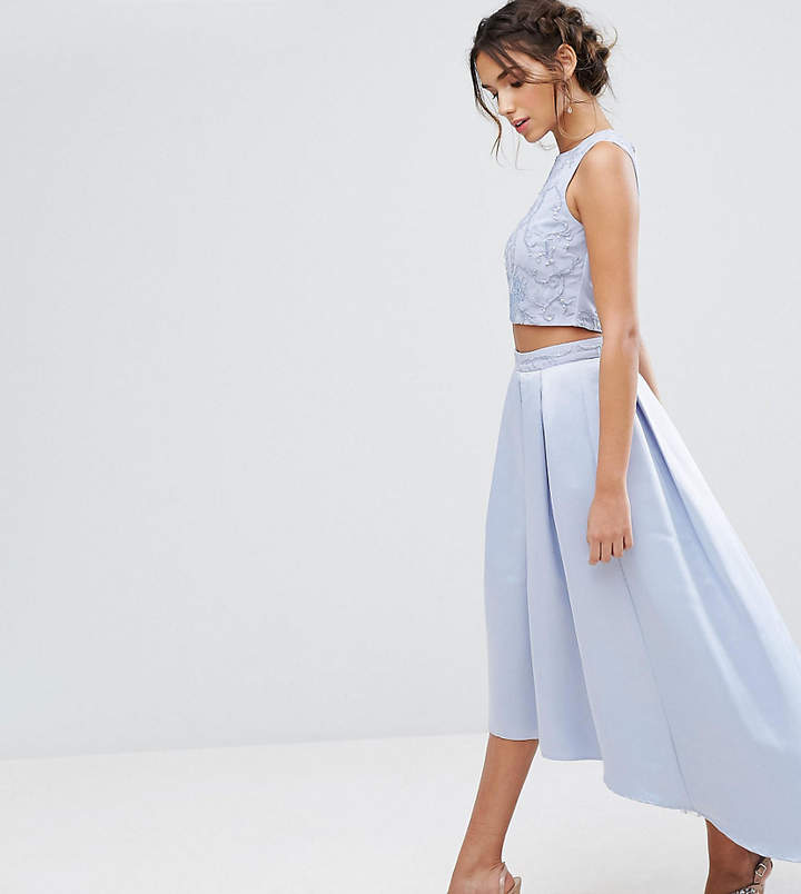 Maya Satin Skirt With High Low Hem And Embroidery