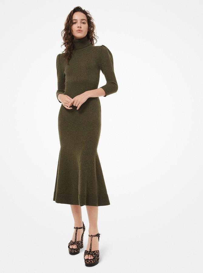Michael Kors Cashmere Puff-Sleeve Turtleneck Dress