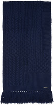 Burberry Navy Cable Knit Scarf