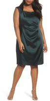 Tahari Plus Size Women's Side Pleat Satin Sheath Dress