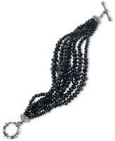 2028 Silver-Tone Beaded Toggle Bracelet