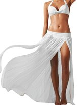 LETSQK Women's Sexy Low Waisted Flowy Slit Beach Maxi Skirt