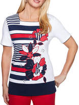 Alfred Dunner Americas Cup Short Sleeve Square Neck T-Shirt-Womens