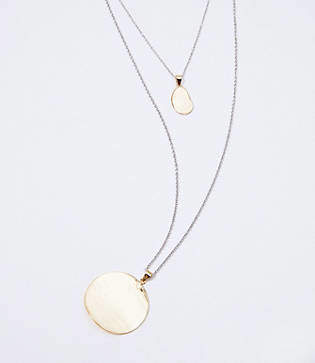 LOFT Layered Hammered Pendant Necklace