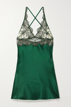 I.D. Sarrieri Embroidered Tulle And Silk-blend Satin Chemise - Emerald