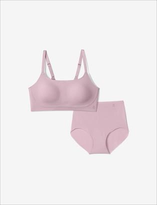 Tommy John Women's Comfort Smoothing Bra & Underwear Pack, Mauve Shadows