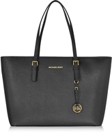 Michael Kors Black Jet Set Travel Saffiano Leather Medium T Z Tote