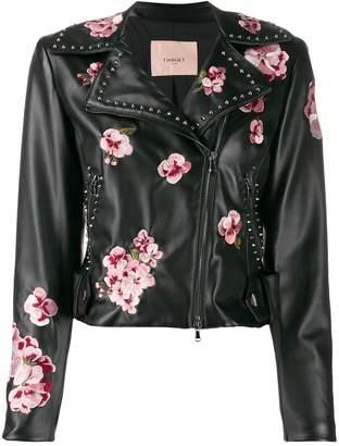 Twin-Set faux-leather biker jacket