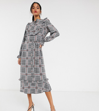 Vero Moda Tall check ruffle front shirt dress