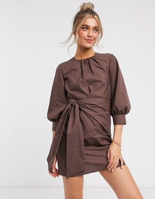 ASOS DESIGN knot front mini dress in cotton in brown