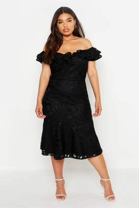 boohoo Plus Premium Lace Off Shoulder Midi Dress
