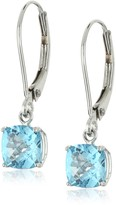 Amazon Collection 10k White Gold Cushion-Cut Checkerboard Blue Topaz Leverback Earrings (6mm)