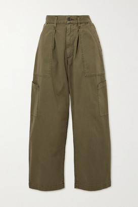 AGOLDE Mari Cotton-twill Tapered Pants - Green