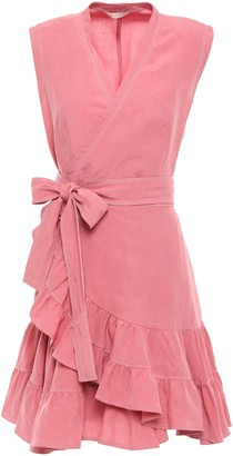 Rebecca Taylor Ruffle-trimmed Linen And Tencel-blend Mini Wrap Dress