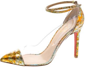Christian Louboutin Multicolor Metallic Python and PVC Pigalle Un Bout Ankle Strap Pumps Size 37.5