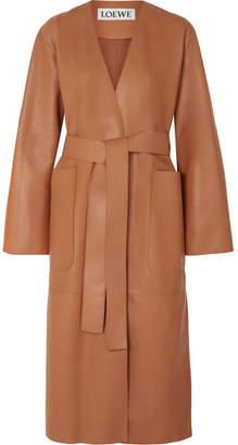 Loewe Belted Leather Coat - Tan