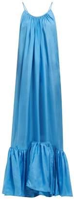 Kalita Brigitte Habotai-silk Maxi Dress - Womens - Light Blue