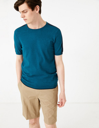 Marks and Spencer Cotton Arm Stripe Knitted T-Shirt