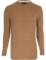 River Island Mens Light brown ribbed crew neck sweater