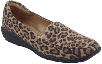 Easy Spirit Abriana Leopard Print Suede Loafer - Wide Width Available