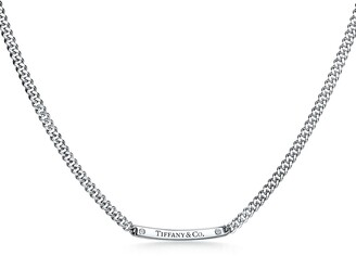 """Tiffany & Co. micro link necklace in 18k white gold with diamonds, 16""""."""