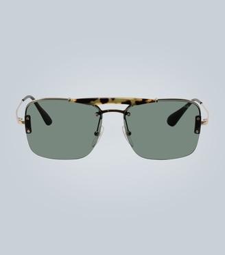 Prada Tortoiseshell half-rim sunglasses