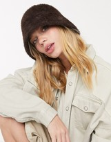 Weekday Rho faux fur bucket hat in brown
