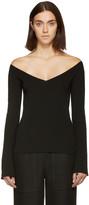 Lemaire Black V-neck Off-the-shoulder Sweater