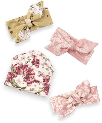 Tesa Babe Girls' Headbands Multi - Pink & Ivory Floral Bunnies Wrap Headbands & Beanie Set - Newborn & Infant