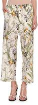 Alexander McQueen Iris-Print Crepe de Chine Drawstring Pants, Ivory