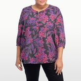 NYDJ Eastern Garden Print 3/4 Sleeve Blouse In Plus