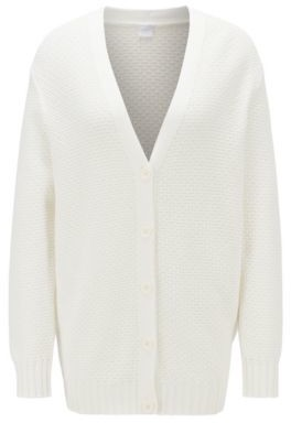 BOSS Relaxed-fit cardigan in lightweight cotton with mixed stitching