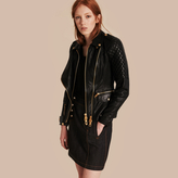 Burberry Diamond Quilt Detail Leather Biker Jacket