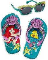 Disney Store Girl's Ariel Flip Flops Sandals and Sunglasses Set, Size 11/12