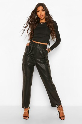 boohoo Tall Faux Leather Split Front Slim Fit Pants