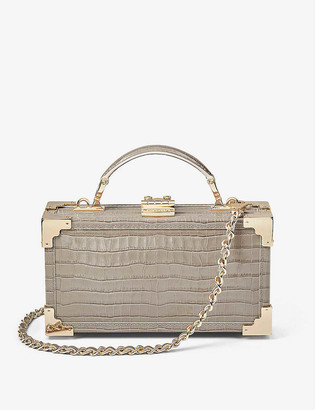 Aspinal of London Trinket Box crocodile-embossed leather clutch