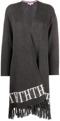 Tommy Hilfiger monogram intarsia fringed cape