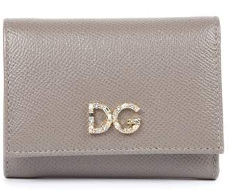 Dolce & Gabbana Mud Leather Wallet With Logo Plaque