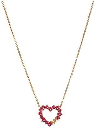 Michael Kors Pave Heart Necklace (Rose Gold Tone 2) Necklace