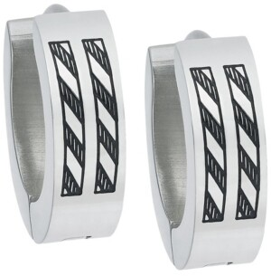 Sutton by Rhona Sutton Sutton Stainless Steel Etched Stripes Huggie Earring Set