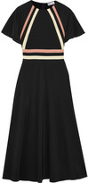 RED Valentino Striped Silk Crepe De Chine Midi Dress - Black