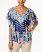 JM Collection Petite Printed Poncho Top, Only at Macy's