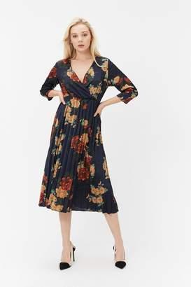 Coast Floral Print Wrap Pleated Dress