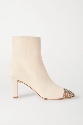 AEYDĒ Belle Snake-effect And Smooth Leather Ankle Boots - Off-white